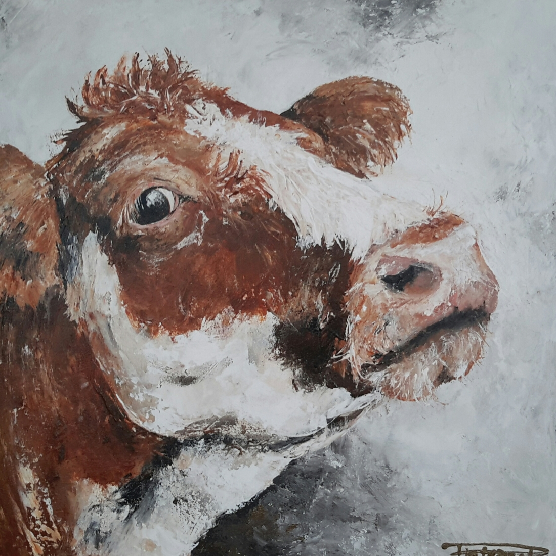 Lovely Cow I 50x50 sold Netherlands (available as giclee 60x60)