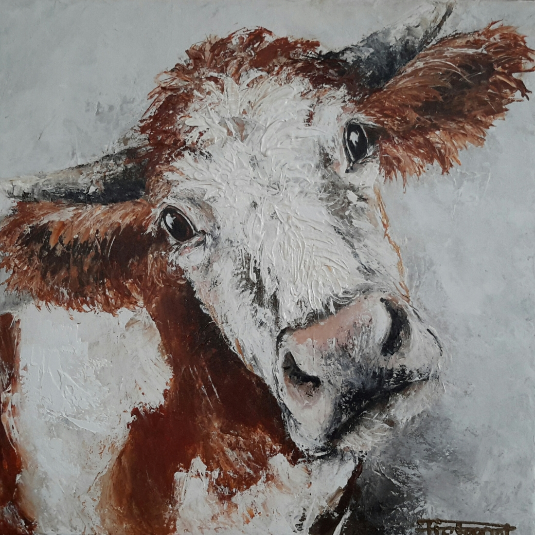 Lovely Cow II 50x50 sold Netherlands (available as giclee 60x60)