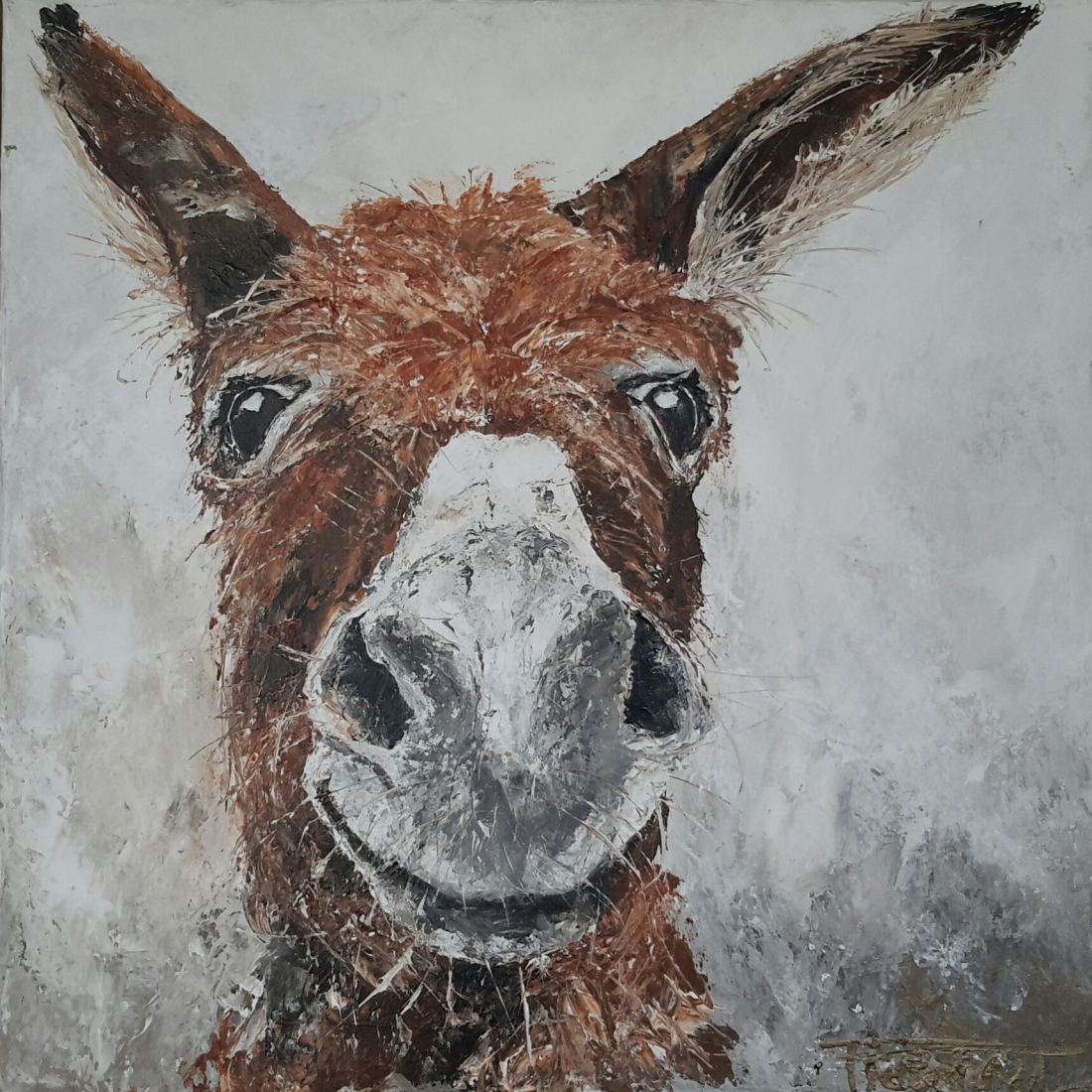"""Lovely Donkeys II"" 50×50 sold Belgium (available as giclee 60x60)"