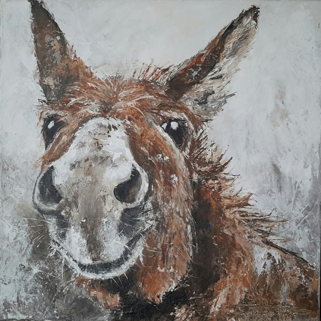 """Lovely Donkeys III"" 50×50 sold Belgium (available as giclee 60x60)"